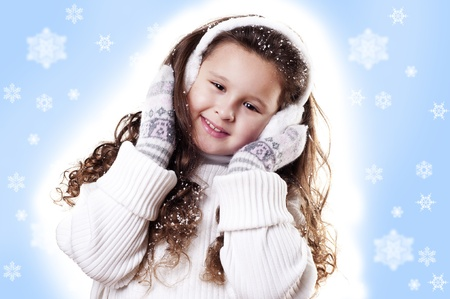 Winter Girl snow flake blue background photo