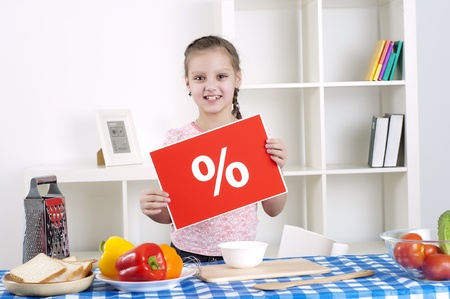 girl holding procent sign Stock Photo - 12939609