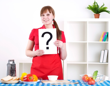 girl holding question sign Stock Photo - 13428602
