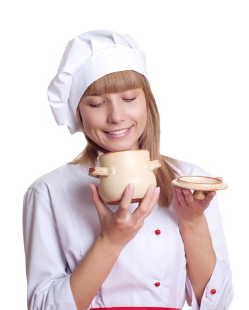 handled: attractive woman cooking Stock Photo