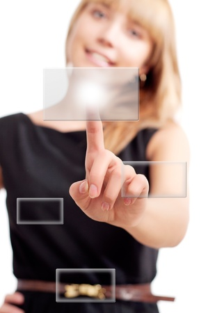 woman pushing on touch button photo
