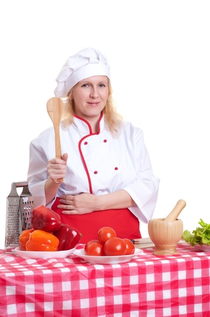 attractive woman cooks photo