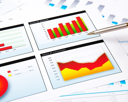 charts, documents, blueprint Stock Photo