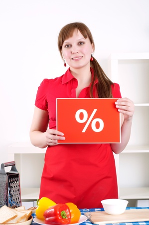 girl holding procent sign Stock Photo - 13590264