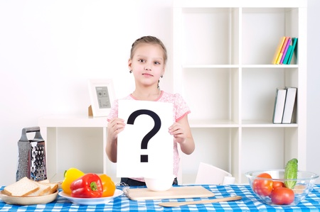 girl holding question sign Stock Photo - 13899126