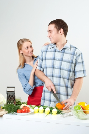 couple of cooking together Stock Photo - 14109091