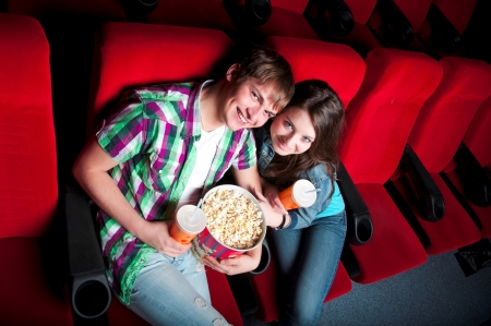 couple hugging in the cinema, fun photo