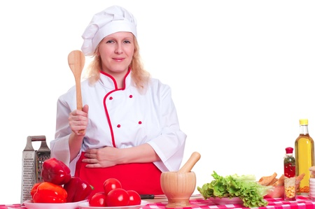portrait of a woman with a spade chefs cooking photo