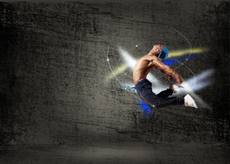 street dance: dancer,  on an abstract background  collage