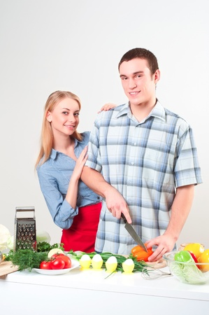 couple of cooking together Stock Photo - 15937119