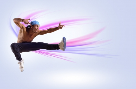 artist's model: Dancer jumping , on an abstract background  collage