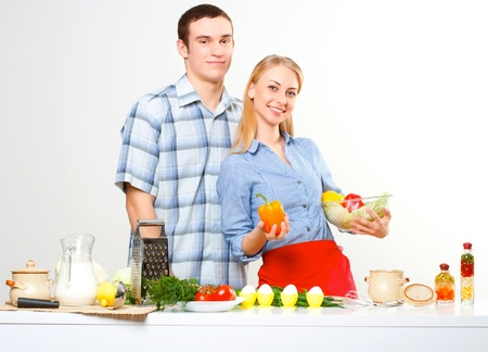 couple of cooking together, have fun time Stock Photo - 16304915