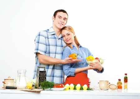 couple of cooking together, have fun time Stock Photo - 16242762