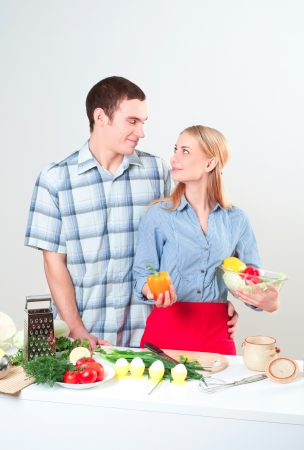couple of cooking together, have fun time Stock Photo - 16407487