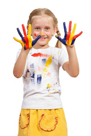 make dirty: girl with painted hands, draw hands, isolated on white background