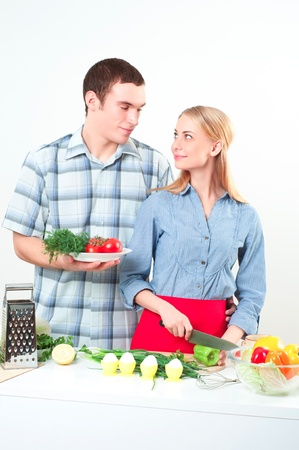 couple of cooking together, have fun time Stock Photo - 16519769