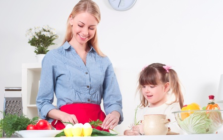Mother and daughter cooking together, help children to parents photo