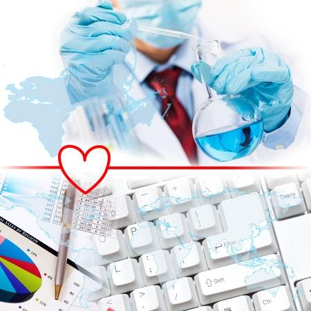 examenes de laboratorio: Collage con los cient�ficos que trabajan con l�quidos en el laboratorio