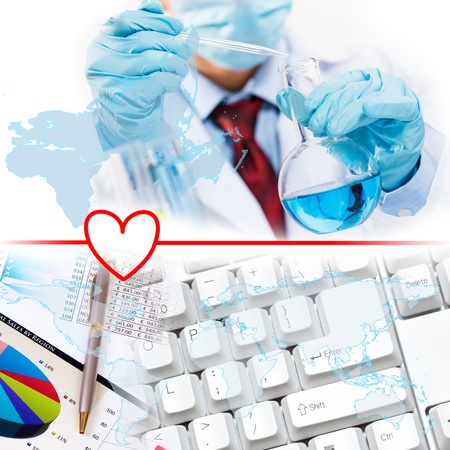 medical study: Collage with scientists working with liquids at laboratory