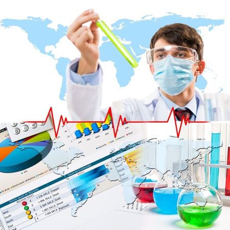 Collage with scientists working with liquids at laboratory Stock Photo - 16695138
