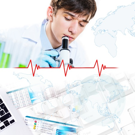 Collage with scientists working with liquids at laboratory Stock Photo - 16753308