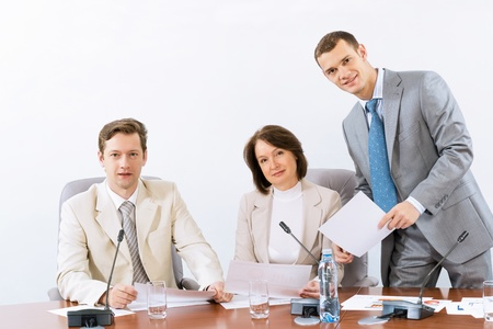 group of business people discussing documents, teamwork Stock Photo - 16830015