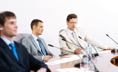 Portrait of a businessmen, colleagues communicate with each other Stock Photo - 16830013
