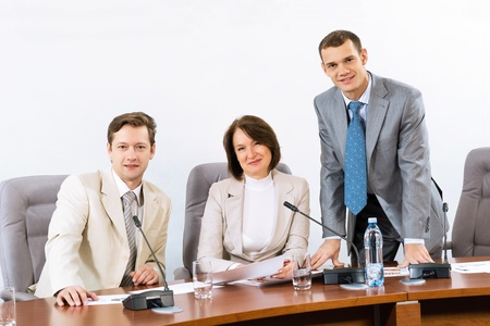 group of businessmen at the table for conferences, team work in business Stock Photo - 16960344