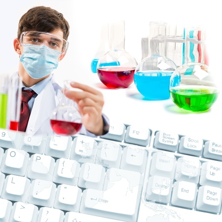 Collage with scientists working with liquids at laboratory Stock Photo - 17012375