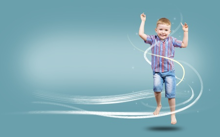 glows: boy jumping hands up, collage, place for text