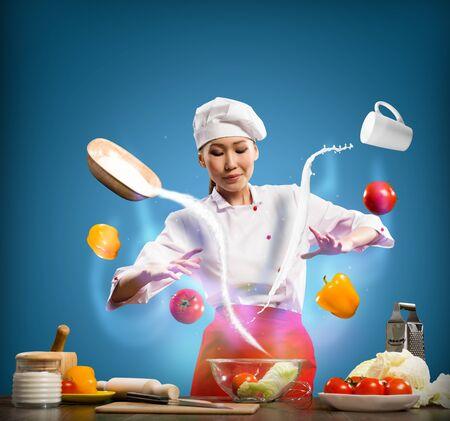 mago chefe cozinheiro na cozinha, preparando com magia