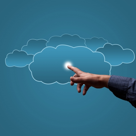 finger touches the clouds, the concept of cloud computing, place for text photo