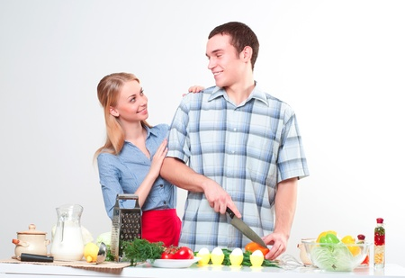 couple of cooking together, have fun time Stock Photo - 17237906