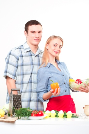 couple of cooking together, have fun time Stock Photo - 17362216