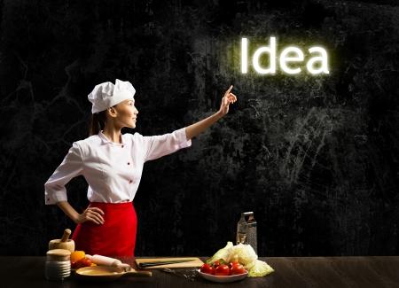 vegetable cook: tocco donna cuoco incandescente parola idea, collage concetto Archivio Fotografico