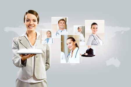 attractive woman holding a tablet pc and smiling, concept of social networks, collage photo