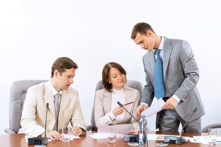 group of business people discussing documents, teamwork Stock Photo