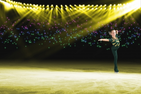 young skater performs on the ice in the background lights lighting Stock Photo - 17514534