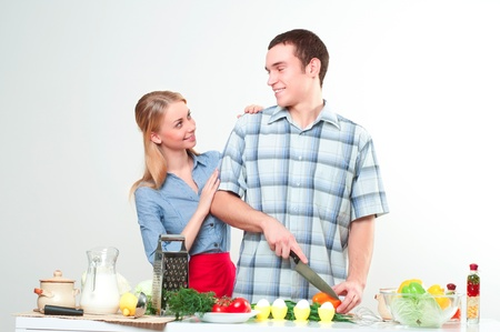 couple of cooking together, have fun time Stock Photo - 17514560