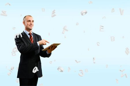 business man is working with the tablet, Concept of digital technology Stock Photo - 17536958