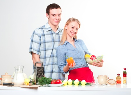 couple of cooking together, have fun time Stock Photo - 17514559