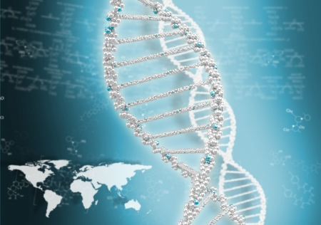 DNA helix against the colored background, scientific conceptual background Stock Photo - 17514543