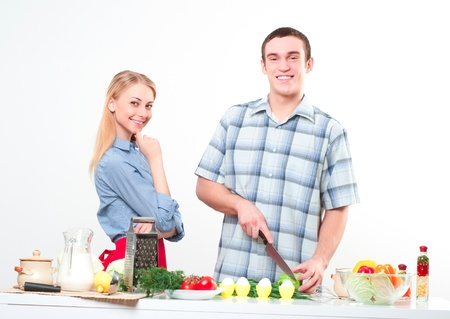 couple of cooking together, have fun time Stock Photo - 17572954