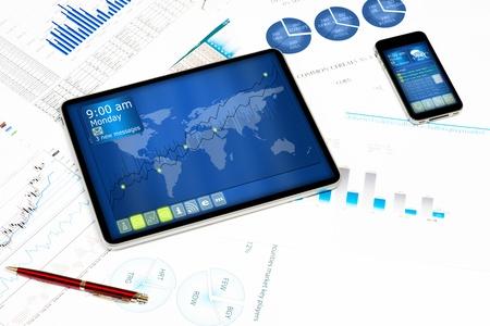 tablet, celular e documentos financeiros, ainda vida, mostrando tecnologias modernas em neg