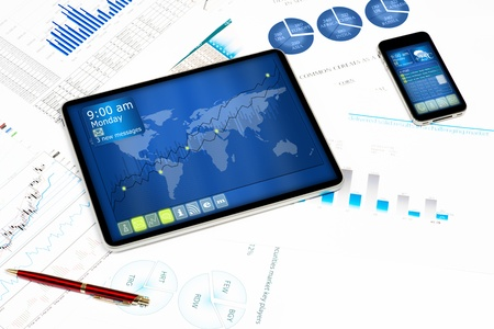 tablet, cell phone and financial documents, still life showing modern technologies in business Stock Photo - 17726761