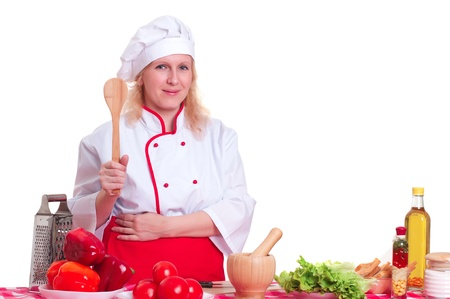 Portret atrakcyjna kobieta gotować, gospodarstwa kielnia