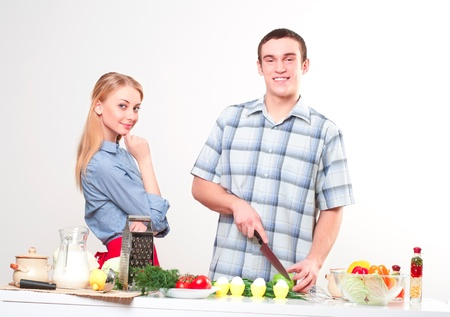 couple of cooking together, have fun time Stock Photo - 17639584