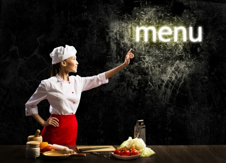 woman cook touch glowing word menu , concept collage