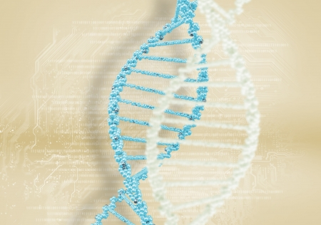 guanine: DNA helix against the colored background, scientific conceptual background