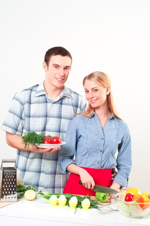 couple of cooking together, have fun time Stock Photo - 18200536